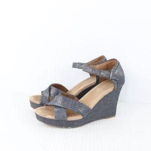 Toms Womens size 8.5 Sienna Silver Wedge Sandals